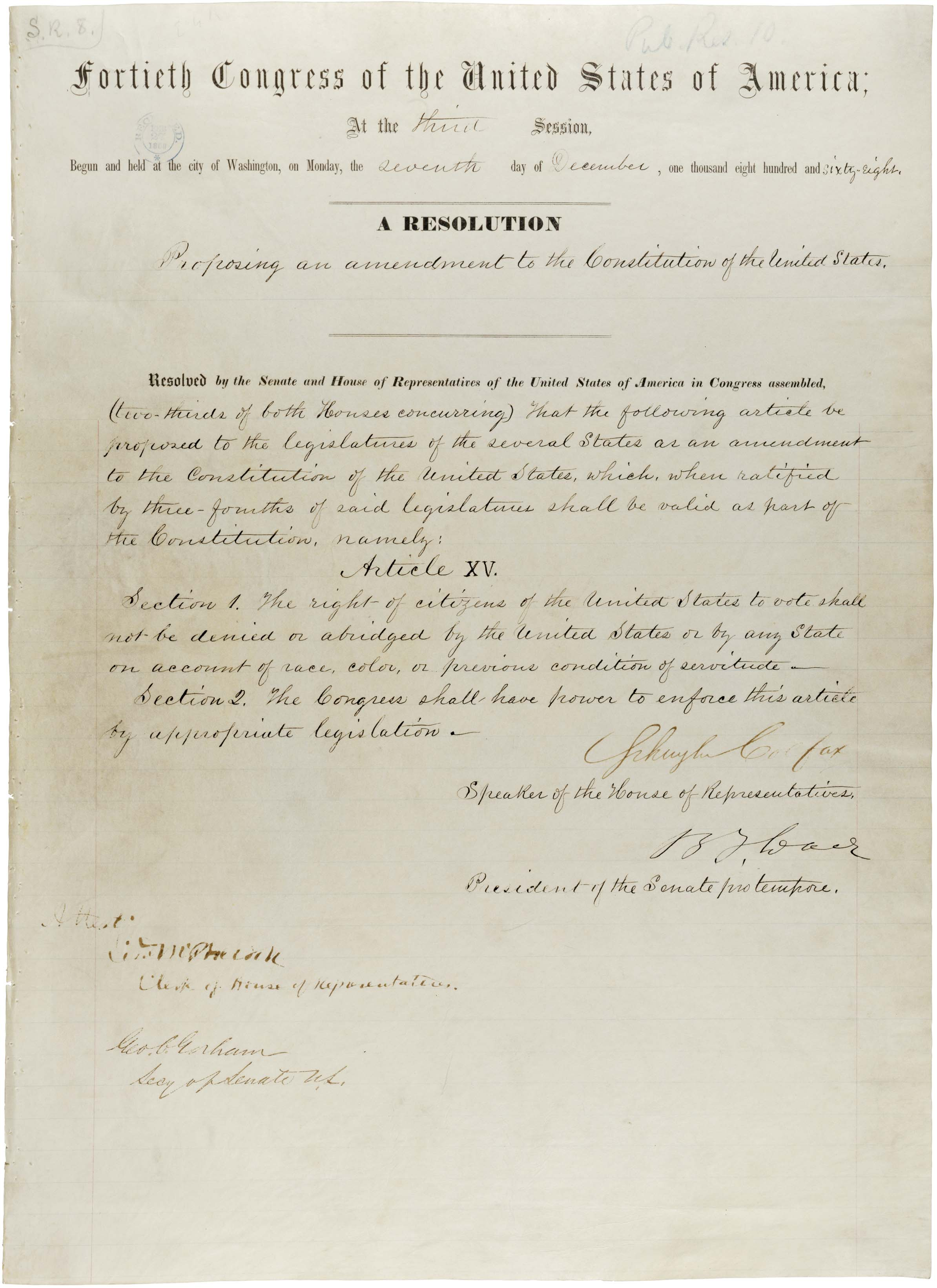 15th Amendment to the US Constitution