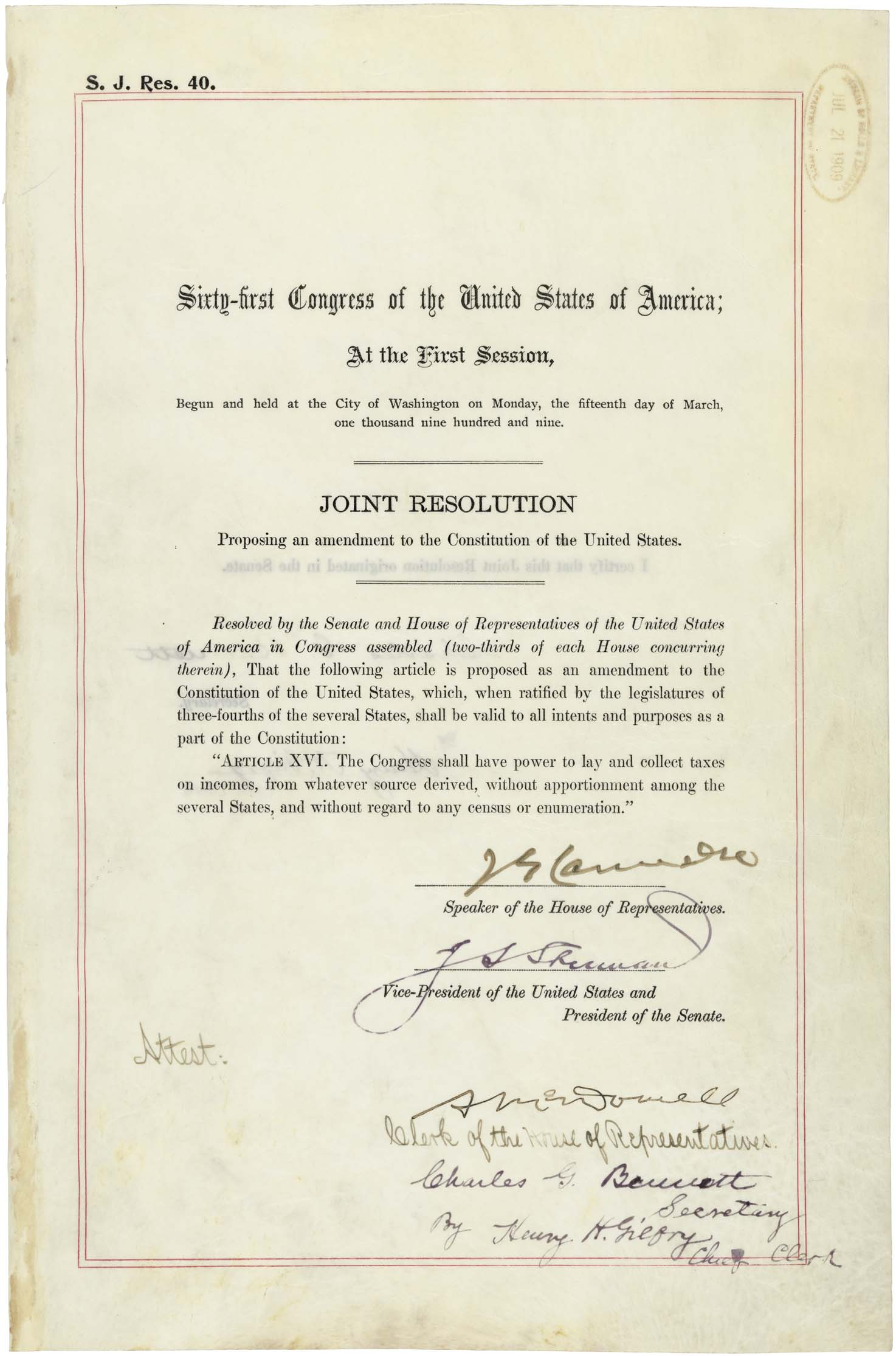 16th Amendment to the US Constitution