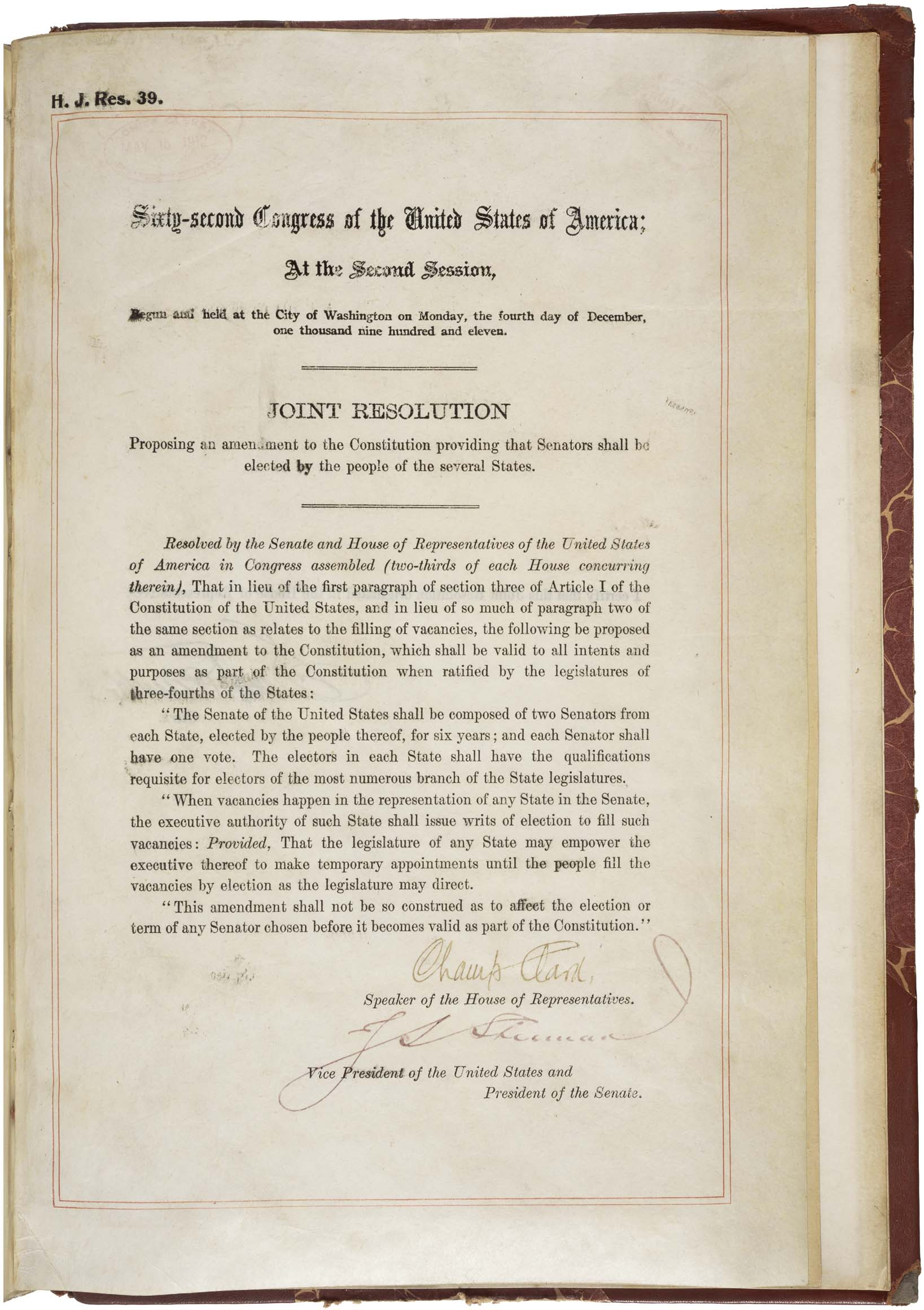 17th Amendment to the US Constitution