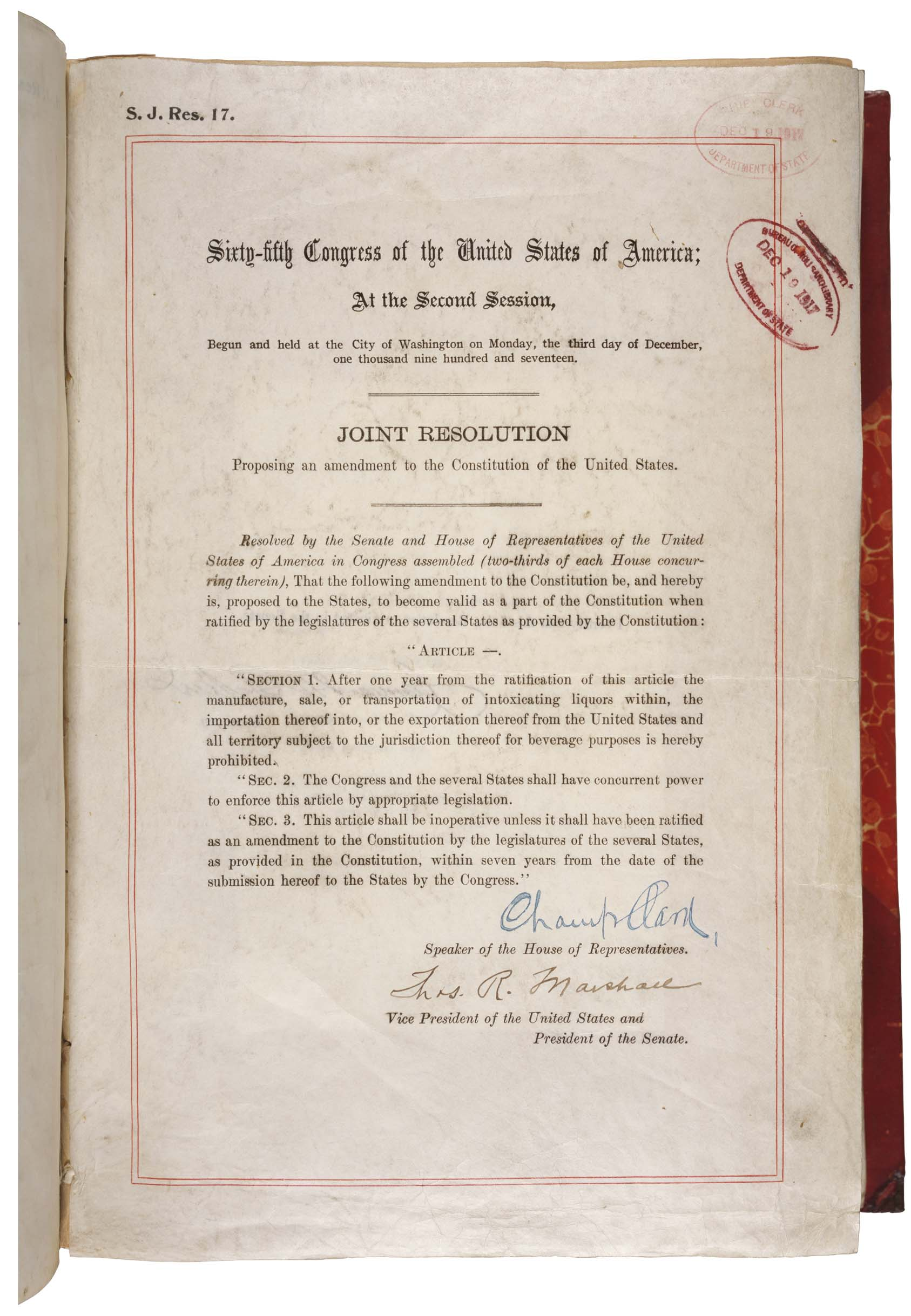 18th Amendment to the US Constitution