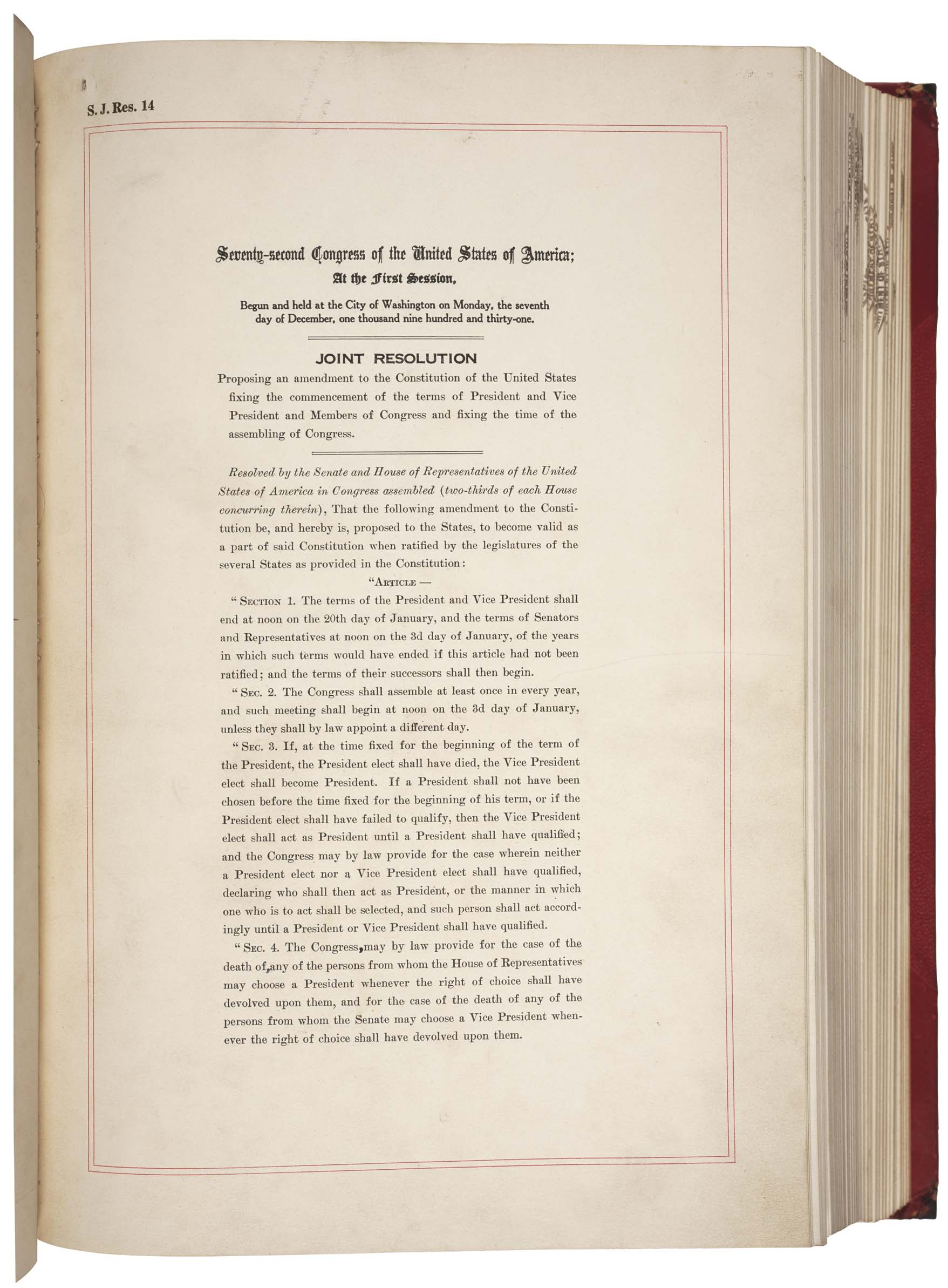 20th Amendment to the US Constitution - Page 1 of 2