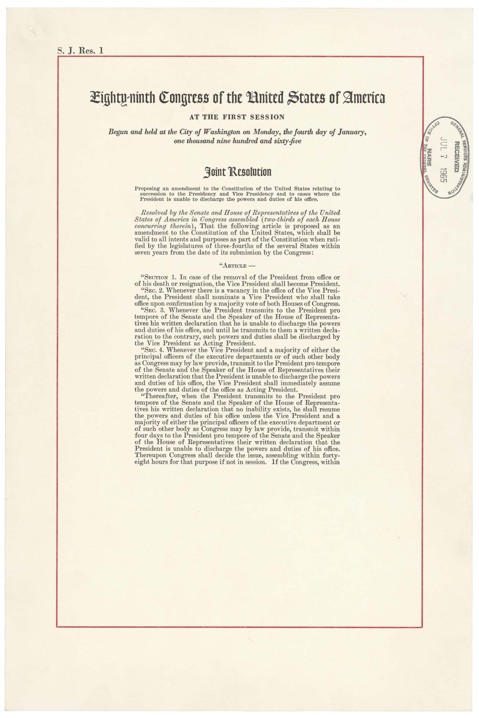 25th Amendment to the US Constitution - Page 1 of 2