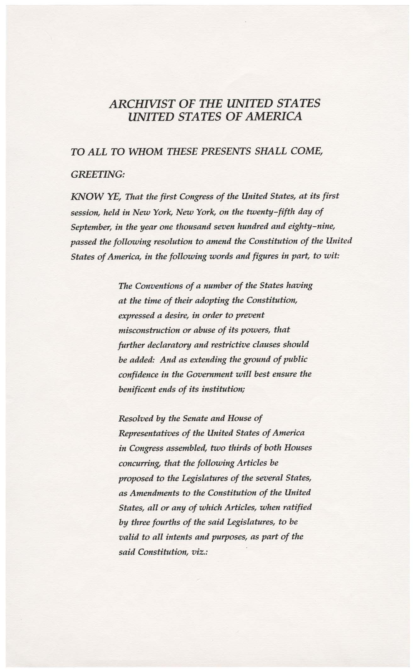 27th Amendment to the US Constitution - Page 1 of 3