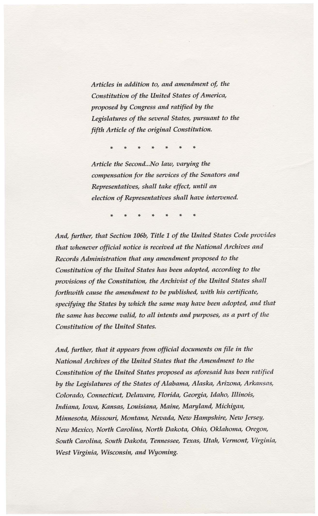 27th Amendment to the US Constitution - Page 2 of 3