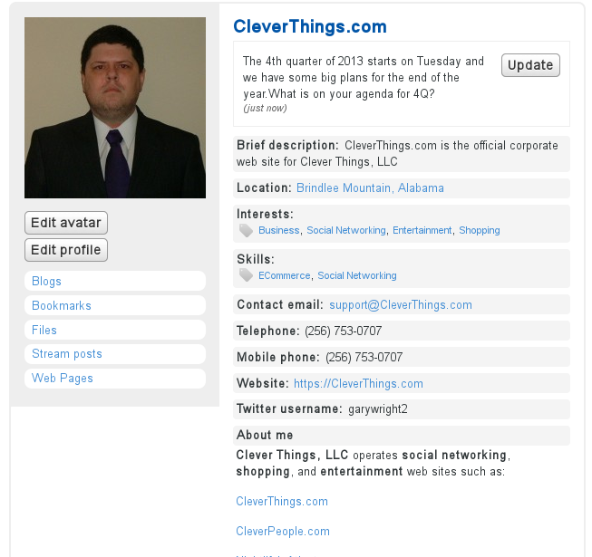 Example of a user profile