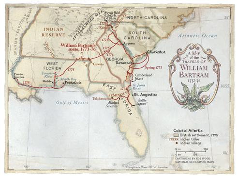 1776 map of William Bartram's Travels
