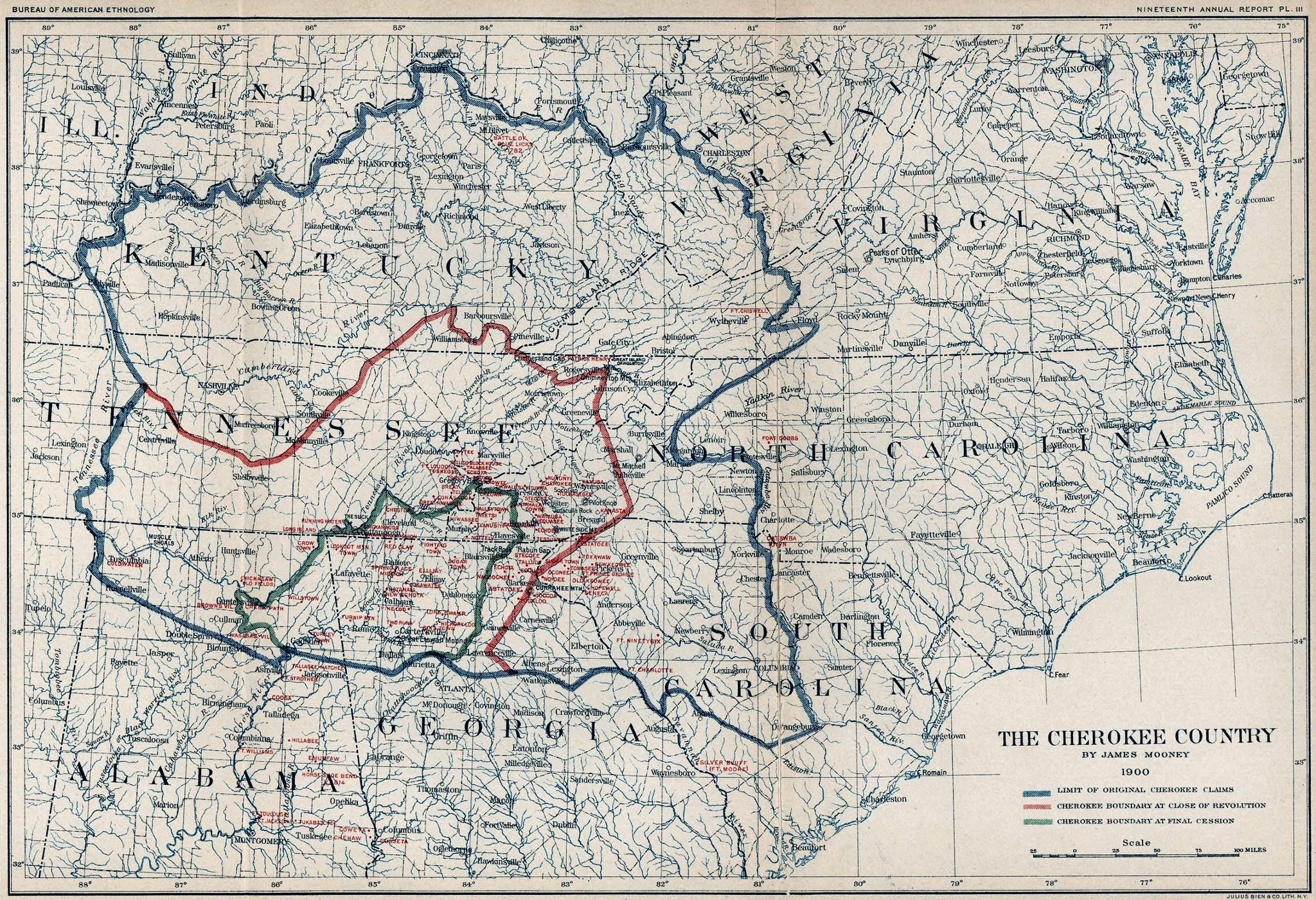 1900 Map of Cherokee Country - Maps of Cherokee Land Cherokee Map on
