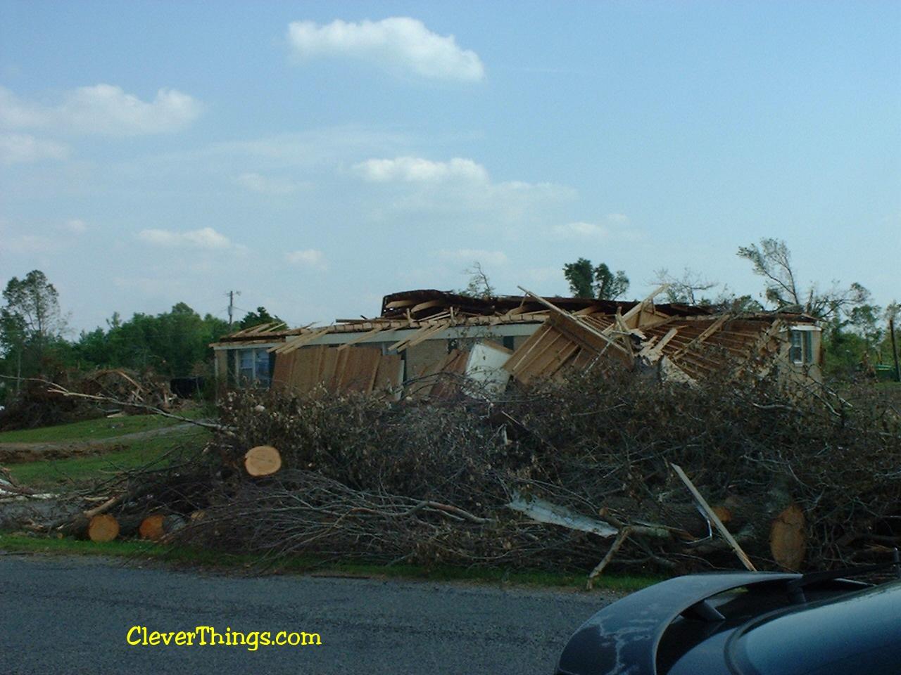 Tornado damage near Arab, Alabama