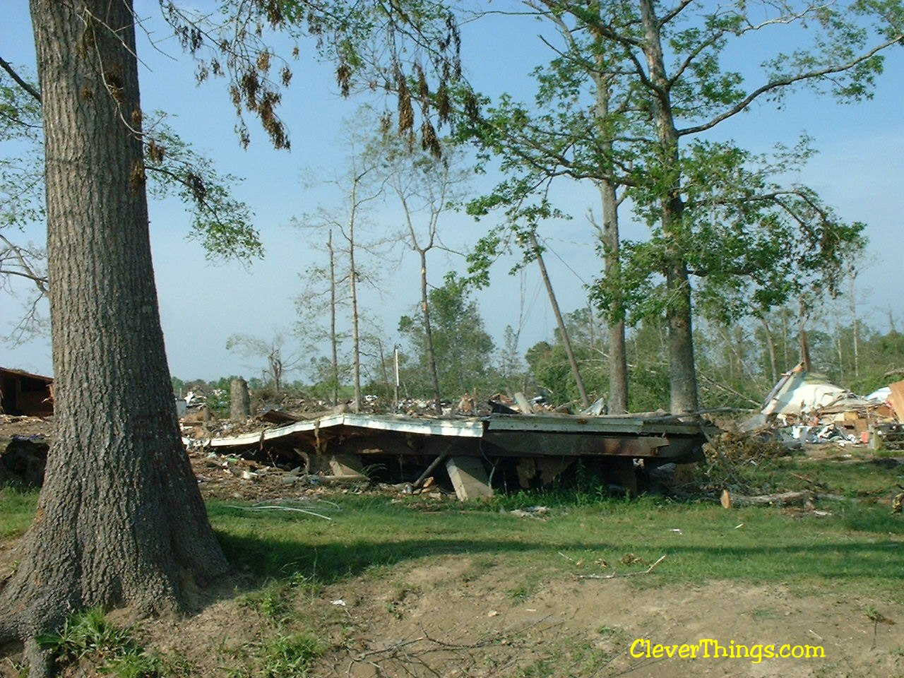 Tornado damage near Arab, Alabama