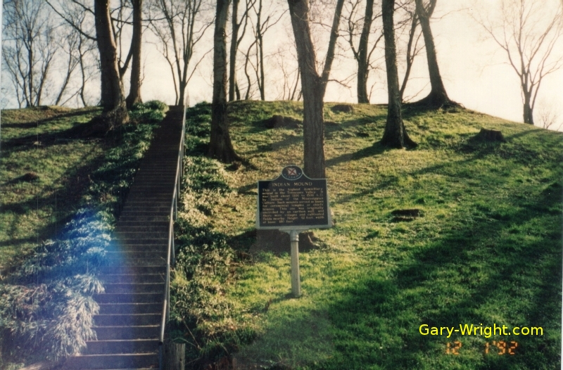 A photograph of an ancient Indian mound in Florence Alabama